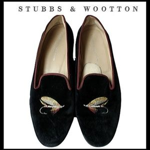 STUBBS & WOOTTON FLY FISH VELVET LOAFERS SLIPPERS